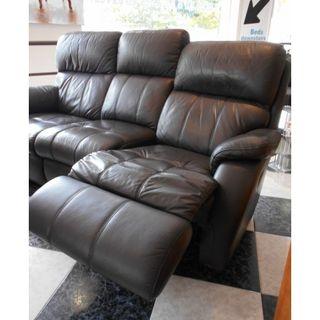Sofá reclinable de tres plazas de piel negro 200cm
