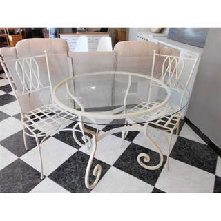 Mesa de hierro crema/blanca + 2 sillas