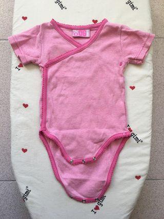 Body niña blanco rosa con rayitas, 6 meses
