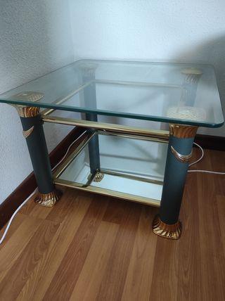 mesa de cristal con espejo