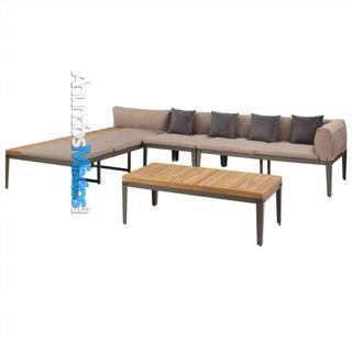 Juego muebles de jardín 4 piezas y cojines madera