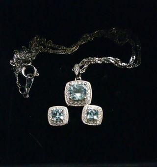 Sky Blue Topaz Pendant Necklace Earrings Rin