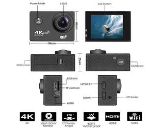 Cámara deportiva 4k Ultra HD WIFI