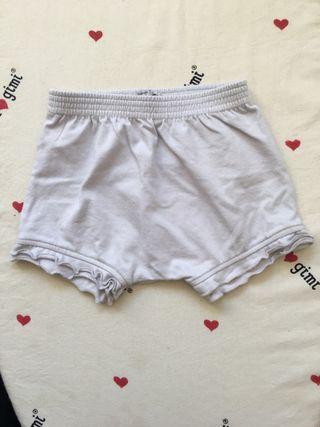 Pantaloncito corto niña, gris claro, talla 0-6 mes