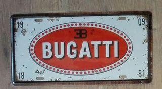 Matrícula decoración de coche Bugatti.