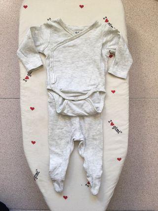 Conjunto body y pantalón bebé, talla 50, 0-1 meses
