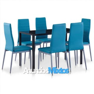 Conjunto de mesa y sillas de comedor 7 piezas azul