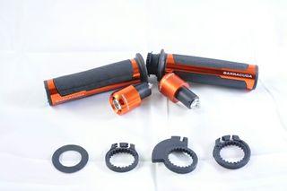 Puños y contrapesos para moto naranjas