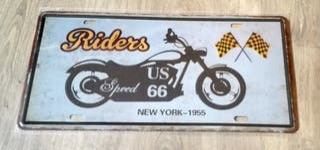 Matrícula decorativa de moto. Riders New York