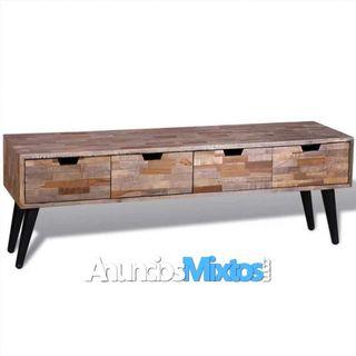 Mesa de TV de teca reciclada con 4 cajones