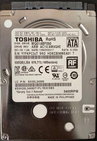 Disco duro 2,5 500Gb Toshiba