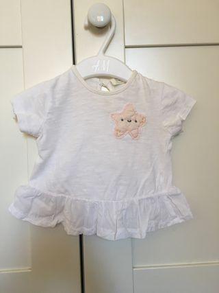 Camiseta bebé Zara mini, talla 62, 1-3 meses