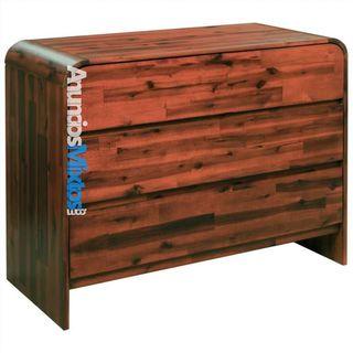 Mueble de cajones madera acacia maciza 90x37x75 cm