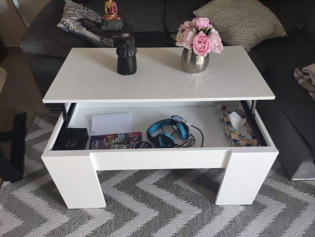 mesa centro blanca elevable