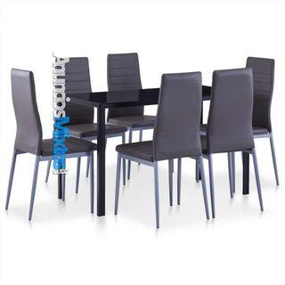 Conjunto de mesa y sillas de comedor 7 piezas gris