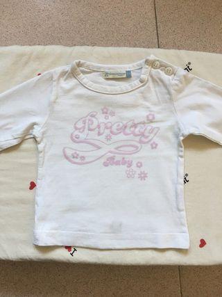 Camiseta manga larga niña. Talla 74, 6-9 meses