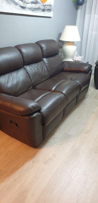 Sofá de cuero 3 plazas reclinable