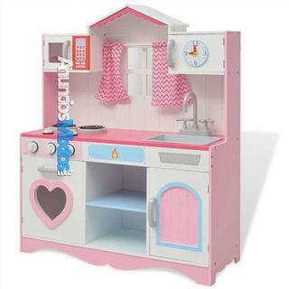 Cocinita de juguete de madera rosa y blanca 82x30x