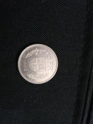 moneda 5 francos suizos 1982