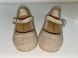 Zapatos merceditas de lino talla 22