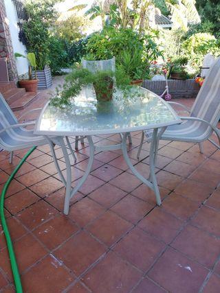 Mesa de Jardín Rectangular con tres sillas