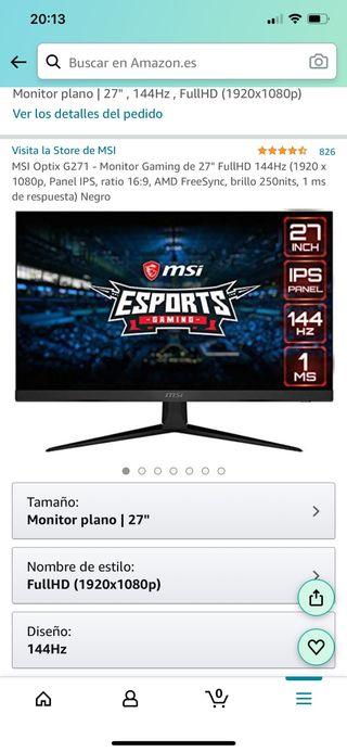 Monitor MSI gaming 144hz Full HD 1ms 27 pulgadas