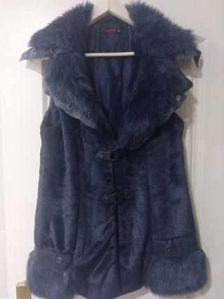 chaleco azul marino talla L piel sintética