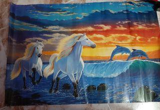 poster de papel caballos y delfines