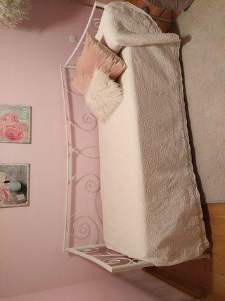 colcha blanca cama 90, individual