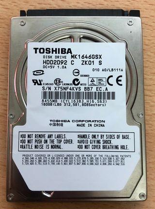 DISCO DURO TOSHIBA 2.5 160 GB