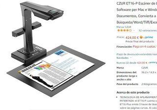 CZUR ET16-P Escáner de Libros con OCR NUEVO!