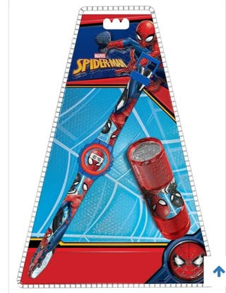 Spiderman Set Reloj 22cm. + Linterna
