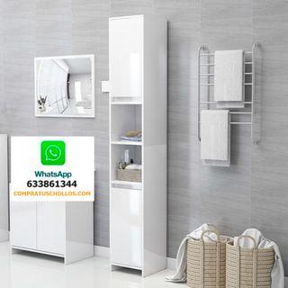 Mueble Armario de Baño Blanco Brillo 30x30x183,5 c