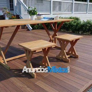 Reposapiés de jardín 2 unidades 42x35x45 cm madera
