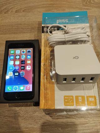 IPHONE 7 JET BLACK 128 GB + cargador USB 4 PUERTOS