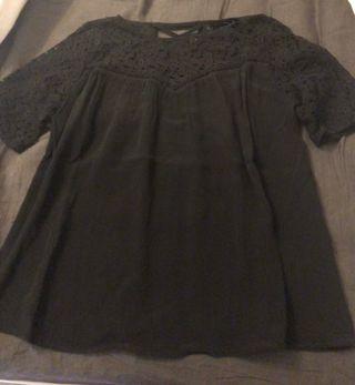 Blusa encaje negra Zara