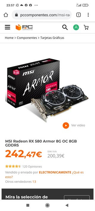 RX 580 armor 8gigas OC