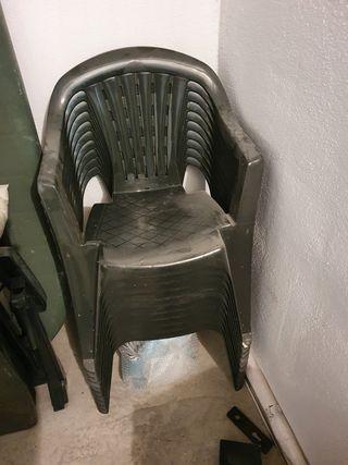 Mesa de plástico jardín con 10 sillas y amaca