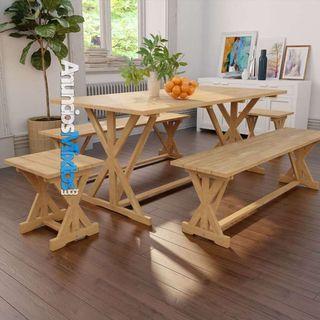 Conjunto de comedor de jardín 5 piezas de madera d