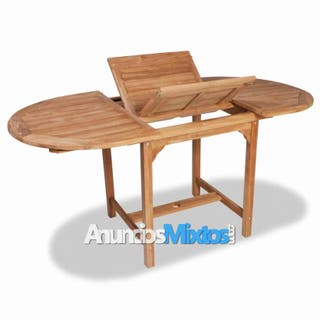 Mesa de jardín extensible madera teca maciza (110-