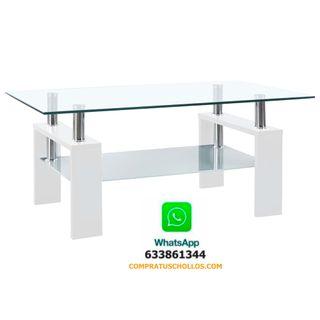 Mesa de centro de vidrio templado 95x55x40 cm