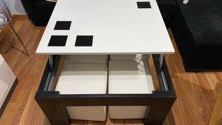 Mesa baja elevable con 2 pufs blanco
