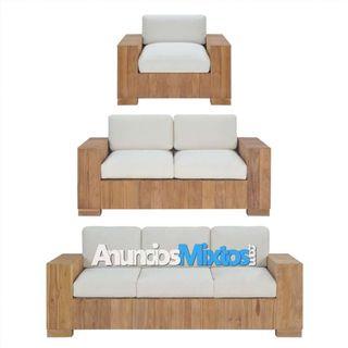 Juego de sofás 3 piezas madera maciza de teca