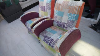 sillones tapizado tipo patchwork