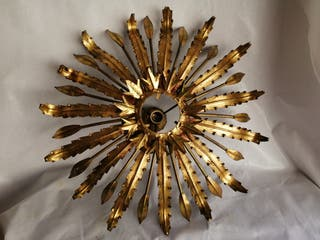 lámpara tipo sol hierro y pan de oro