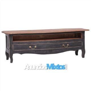 Mueble para TV de madera maciza reciclada negro 12