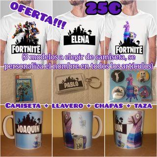 Pack camiseta + taza + chapas + llavero Fortnite