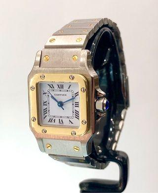 Reloj Cartier Santos Carrée. Dama. Acero y Oro18ct