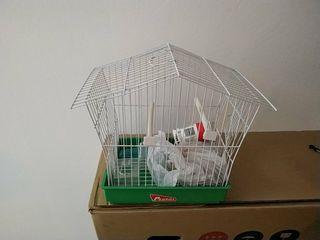 jaula pájaro comederos