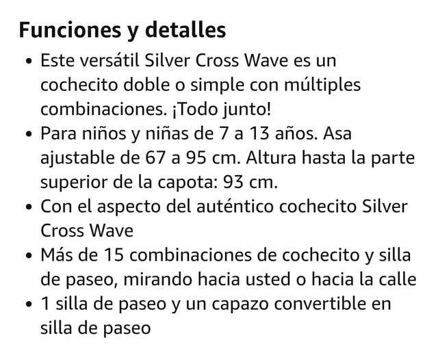Carrito gemelar muñecas Silver cross